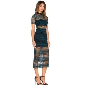 Self Portrait High Neck Column Dress Dark Green XS
